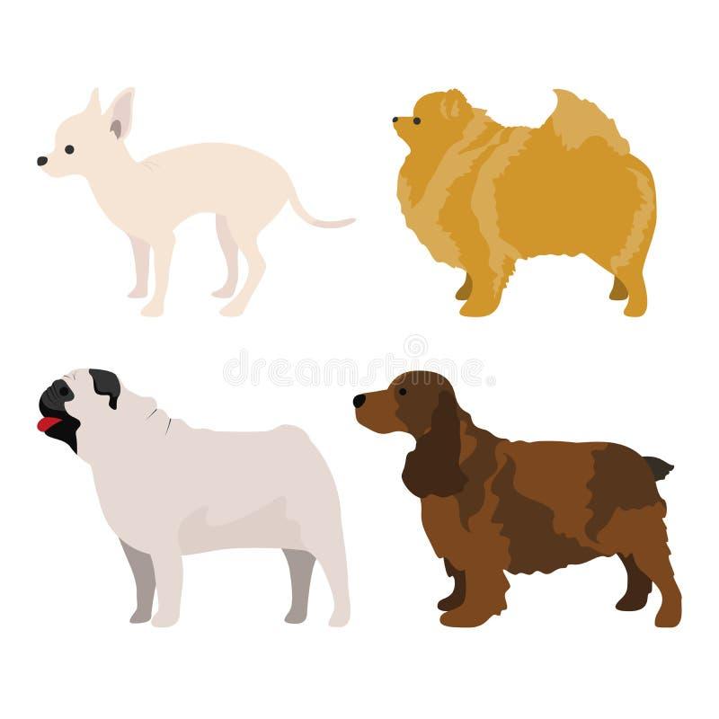 La vista lateral del perro fijó 4 libre illustration