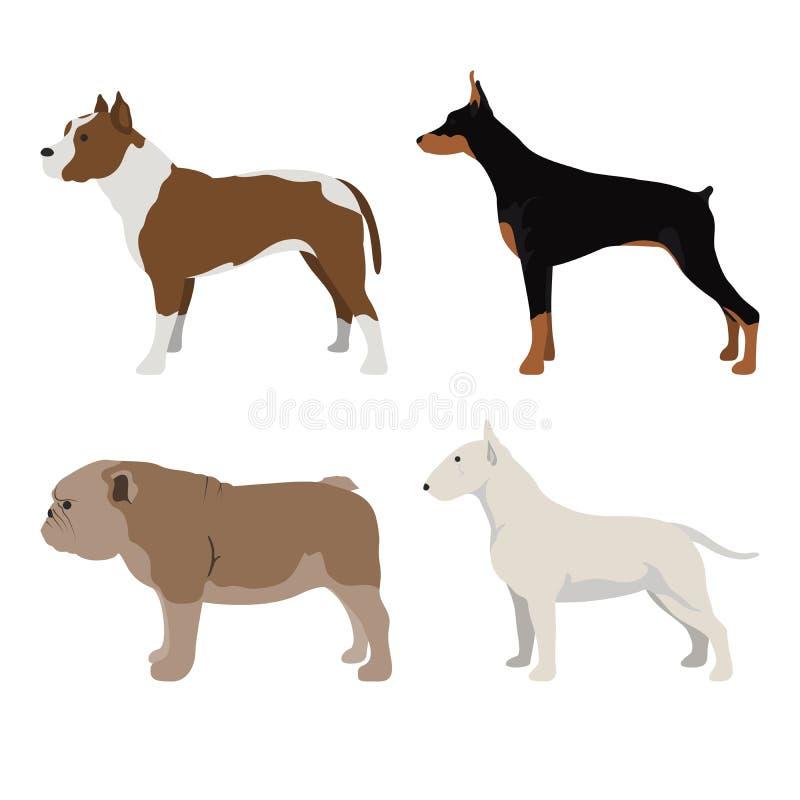 La vista lateral del perro fijó 5 stock de ilustración