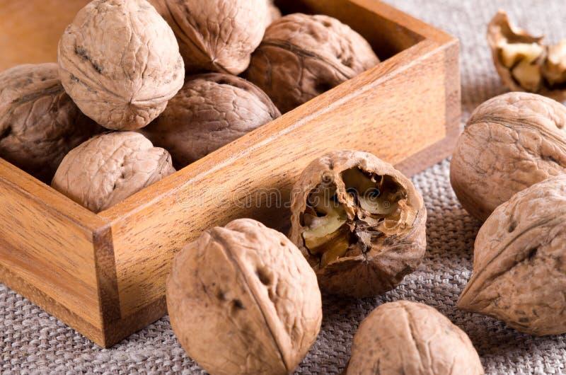 La vista macra de nueces se cierra para arriba en una caja de madera en la arpillera gris foto de archivo