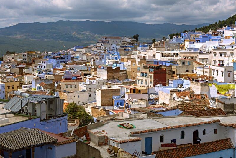 La vista panoramica della città blu in Chefchaouen, Marocco fotografia stock libera da diritti