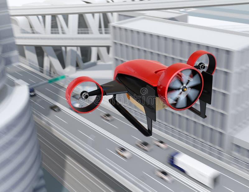 La vista posterior de la entrega que lleva del abejón VTOL rojo empaqueta el vuelo en el cielo ilustración del vector