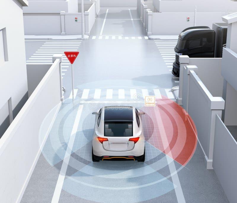 La vista posterior de SUV blanco en calle de sentido único detectó el vehículo en el punto ciego ilustración del vector
