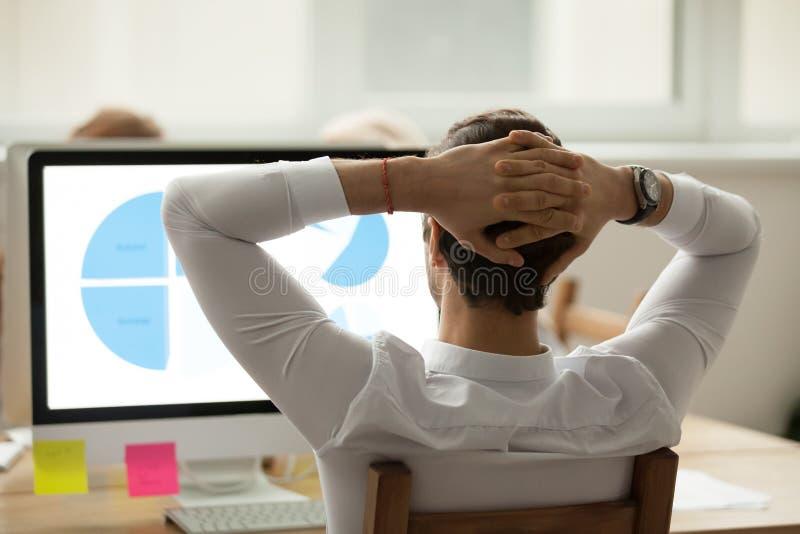 La vista posterior en el hombre de negocios que analiza estadísticas divulga sobre el ordenador fotos de archivo libres de regalías