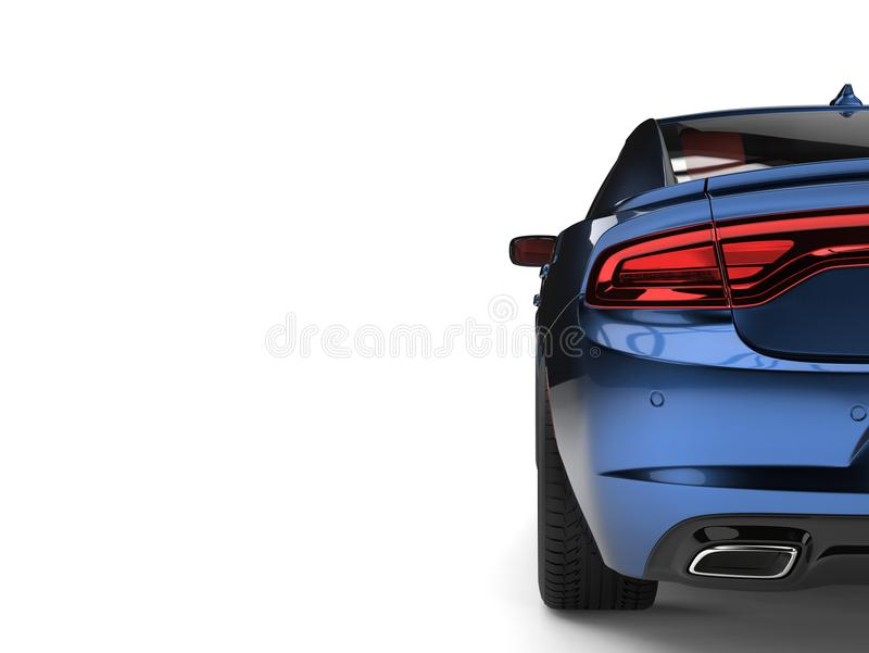 La vista posteriore automobilistica veloce moderna blu metallica scura fresca ha tagliato il colpo royalty illustrazione gratis