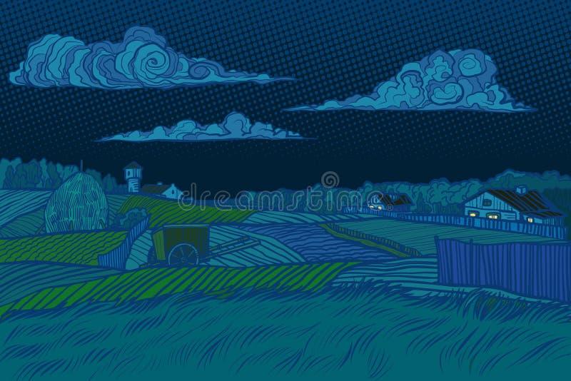 La vista rurale di notte del paesaggio, alloggia la luce nella finestra illustrazione di stock