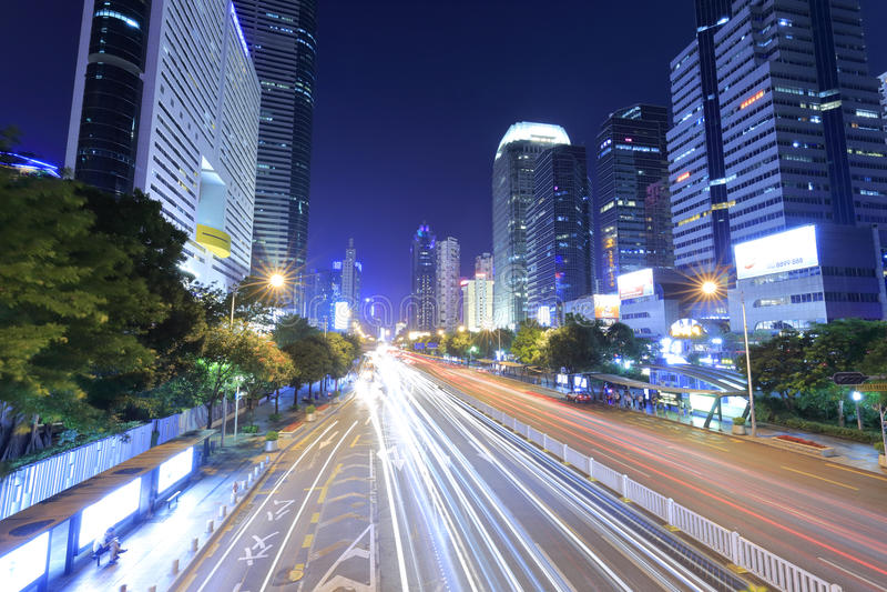La vista shennan de la noche de la calle del dadao imagen de archivo