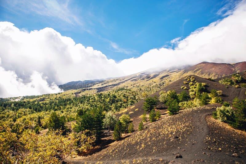 La vista soleggiata con la bella montagna ed il vulcano abbelliscono, la Sicilia, Italia, Etna immagine stock libera da diritti