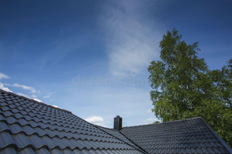 La vista splendida di cielo blu con un certo bianco si rannuvola il tetto grigio e la cima verde dell'albero fotografia stock libera da diritti