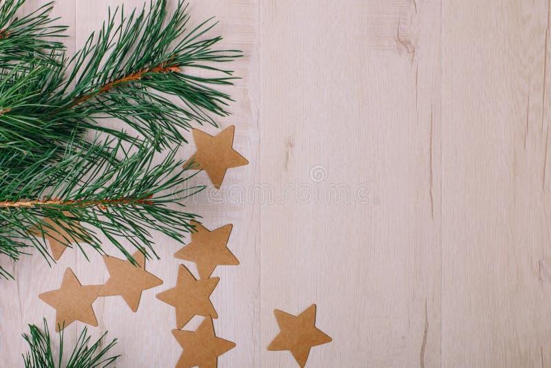 La vista sui rami del pino e sulle stelle del cartone immagine stock