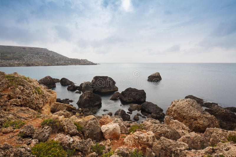 La vista sul mare di Malta fotografia stock