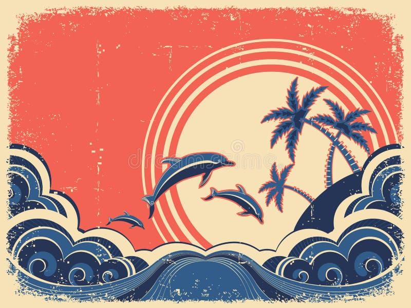 La vista sul mare fluttua il manifesto con i delfini. illustrazione vettoriale