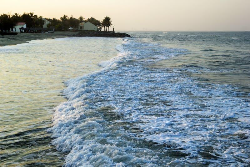 La vista sul mare ondeggia con le case di spiaggia e le palme su un fondo immagine stock libera da diritti