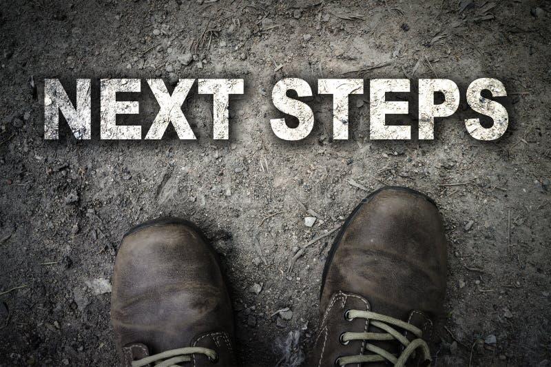 La vista superior de los pasos siguientes manda un SMS con la bota fotos de archivo