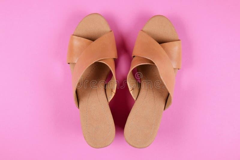 La vista superior del medio femenino de moda se inclinó los zapatos de cuero del ` s de las mujeres de colores en colores pastel  fotografía de archivo