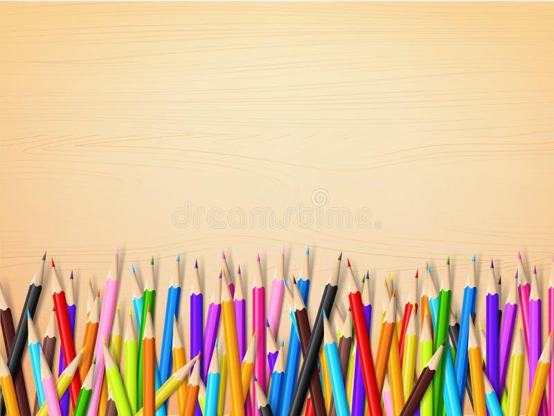 La vista superior del papel en blanco inmóvil y el color dibujan a lápiz stock de ilustración