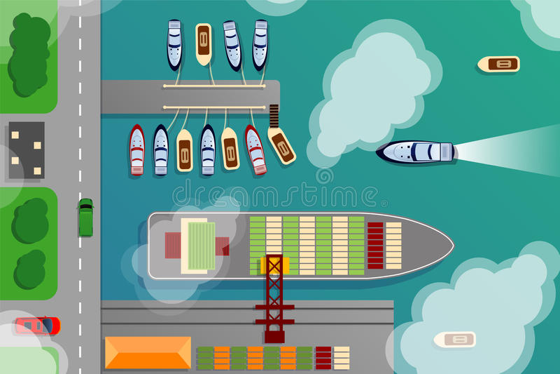 La vista superiore aerea terminale del porto del cantiere navale con le barche della nave da carico e dell'oceano vector l'illust royalty illustrazione gratis