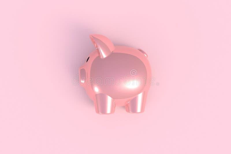 La vista superiore dell'estratto rosa del porcellino salvadanaio sul fondo rosa minimo della tavola, Copyspace per il vostro test fotografia stock libera da diritti