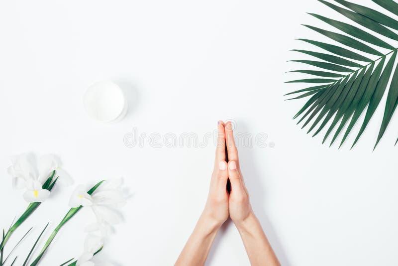 La vista superiore delle mani femminili che fanno il namaste gesture immagine stock