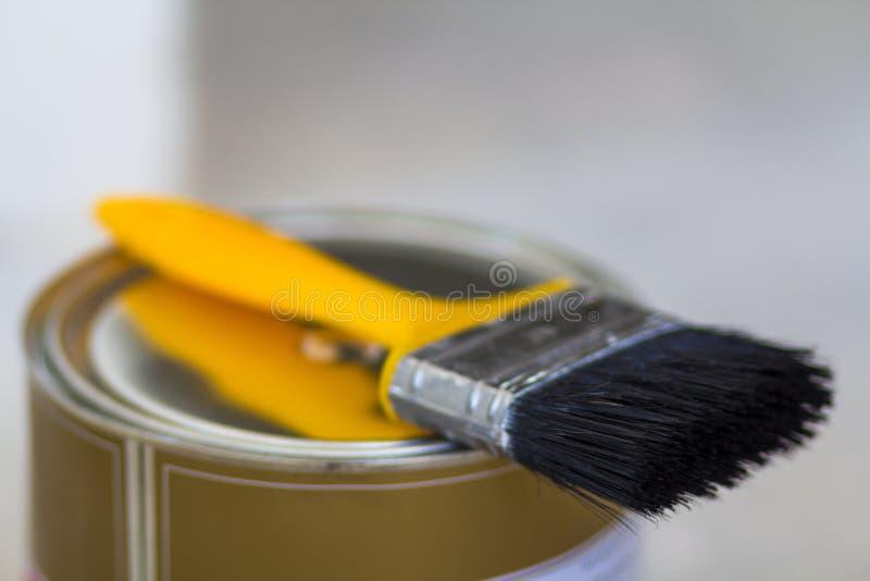 La vista superiore di nuovo brillante pulisce la latta sigillata in pieno di pittura e del pai rossi fotografia stock