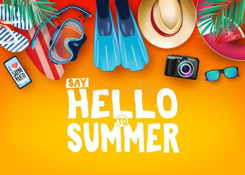 La vista superiore dice ciao all'insegna realistica di vettore dell'estate nel fondo arancio con e negli elementi tropicali come  illustrazione vettoriale