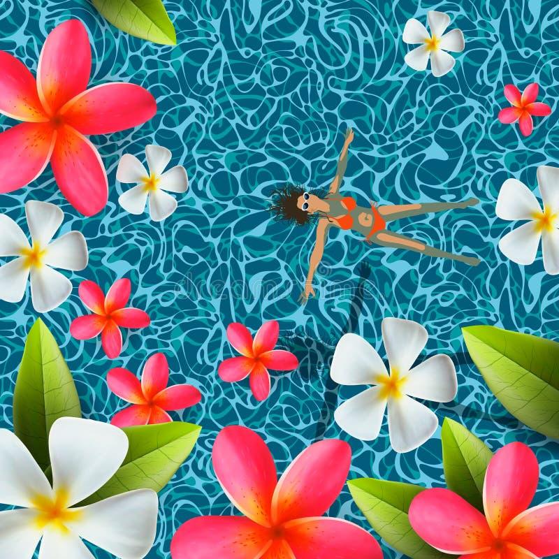 La vista superiore, l'estate, le feste il fondo, nuoto della giovane donna, si rilassa in acqua dello stagno di nuotata, frangipa illustrazione di stock