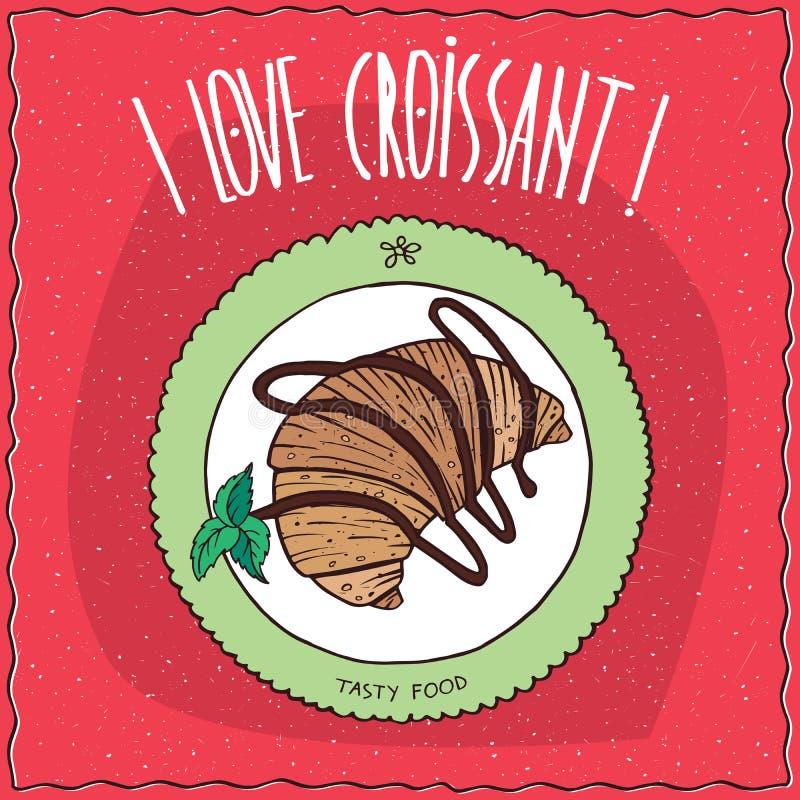 La vista superiore sul croissant ha piovigginato con cioccolato illustrazione vettoriale