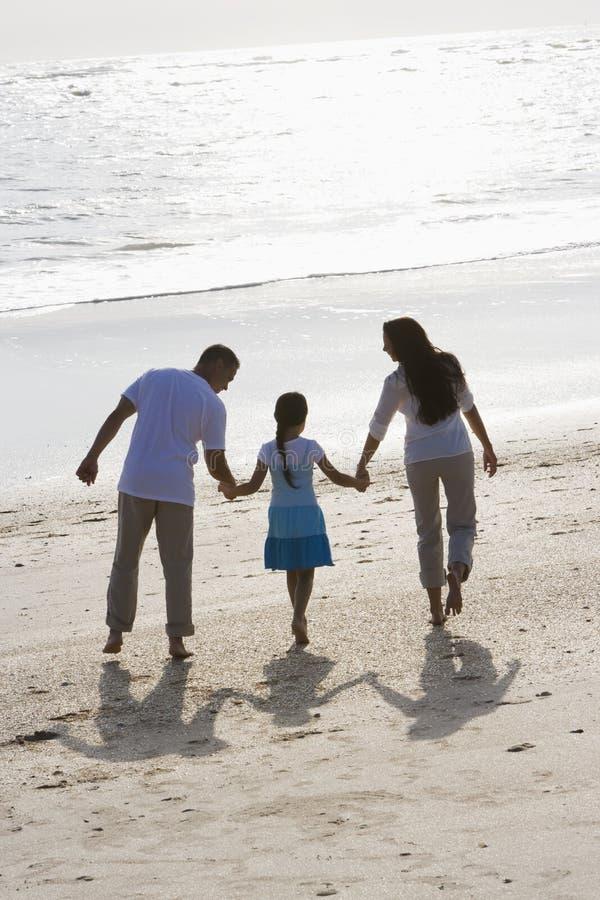 La vista trasera de la explotación agrícola de la familia da recorrer en la playa fotografía de archivo libre de regalías