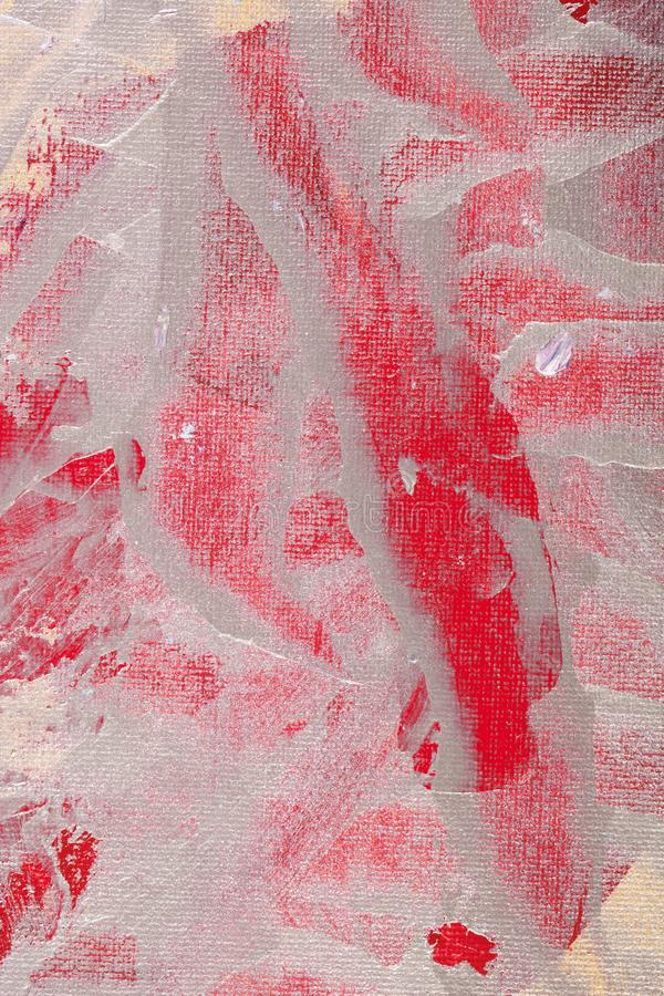 La vista vicina di pittura d'argento ha procurato a tela rossa il rosso blu vivo tela paintstrokese bianca royalty illustrazione gratis