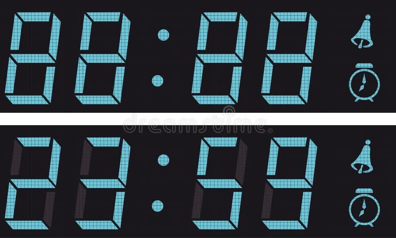 La visualizzazione un orologio digitale. illustrazione di stock