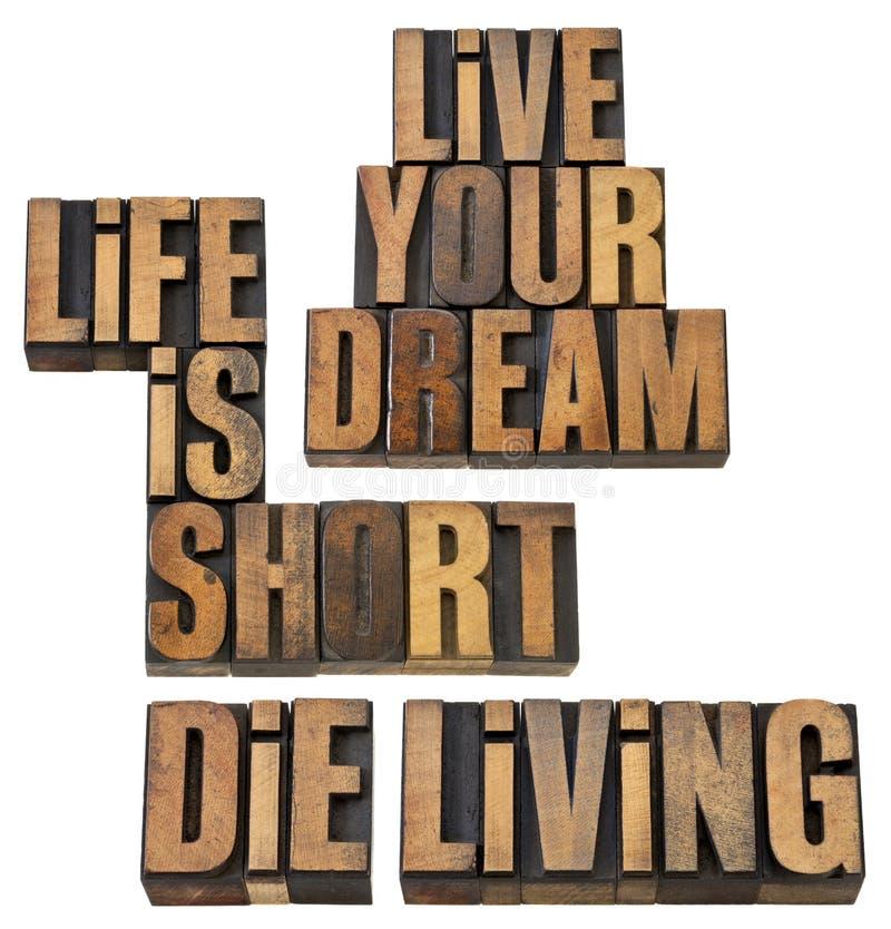 La vita è short, vive il vostro sogno, muore vivere immagini stock libere da diritti