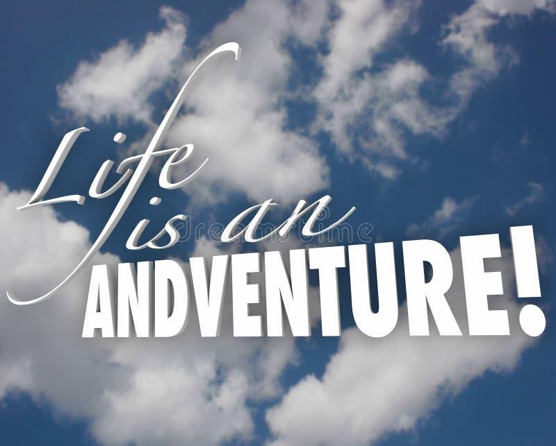La vita è una motivazione di ispirazione delle nuvole di parole di avventura 3d illustrazione vettoriale