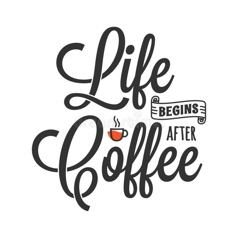La vita comincia dopo caff? Iscrizione con il caffè royalty illustrazione gratis