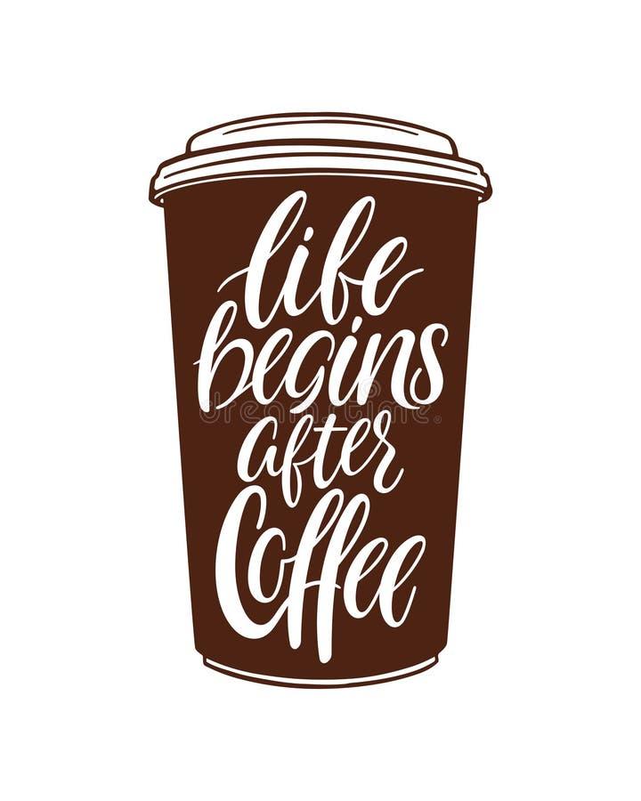 La vita comincia dopo Cofee illustrazione vettoriale