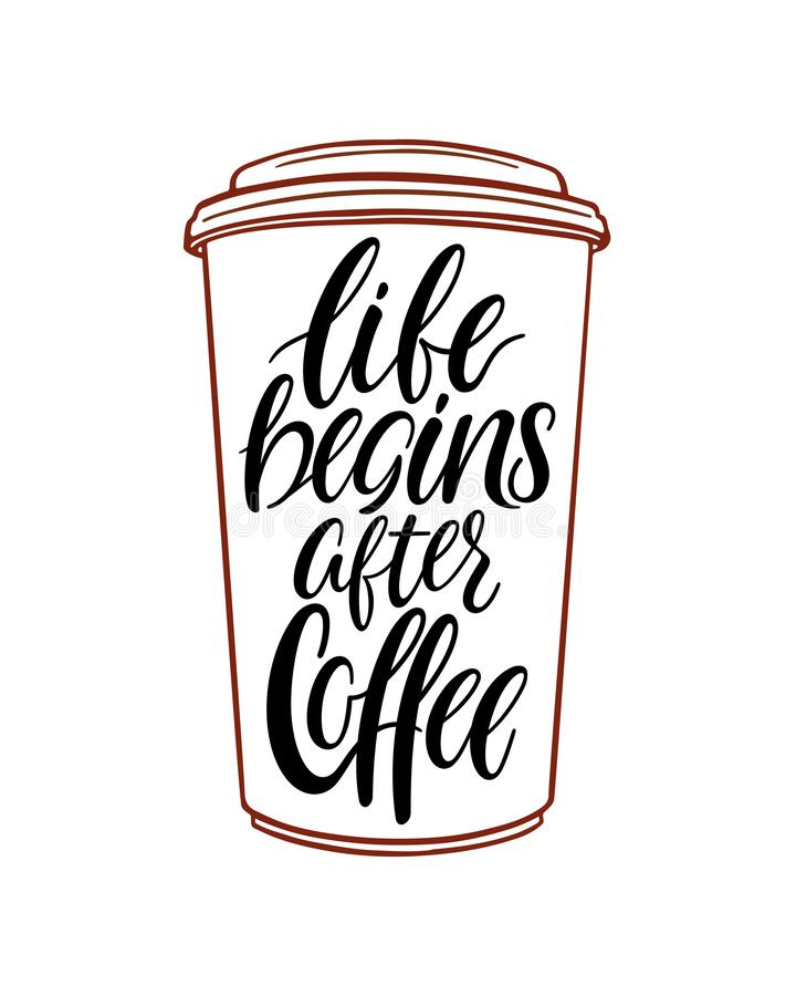 La vita comincia dopo Cofee royalty illustrazione gratis