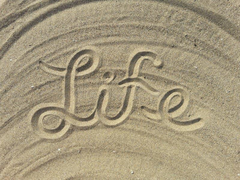 La vita scrive sulla sabbia fotografia stock