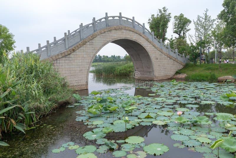 La voûte en pierre pont-Nan-Tchang aiment le parc de marécage de lac photographie stock libre de droits