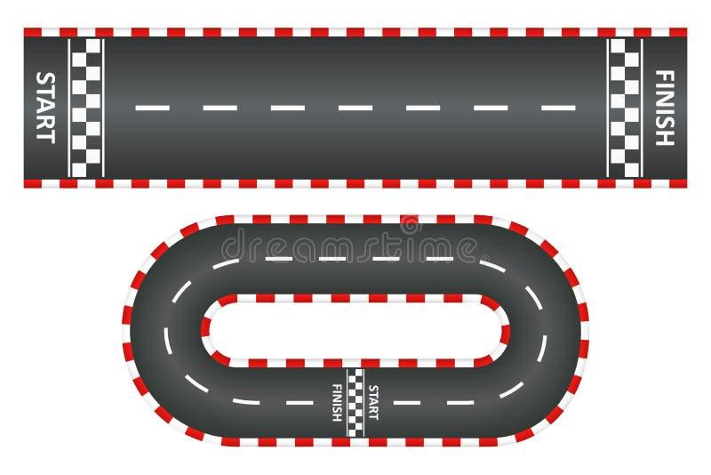 La voie d'emballage, vue supérieure des routes goudronnées a placé, course de kart avec le début et ligne d'arrivée Vecteur illustration de vecteur