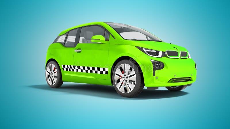 La voiture électrique de taxi vert a isolé 3d pour rendre sur les WI bleus de fond illustration stock