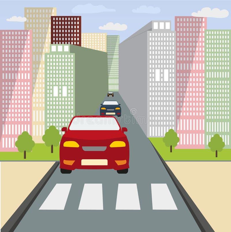 La voiture arrêtée à un passage piéton illustration de vecteur