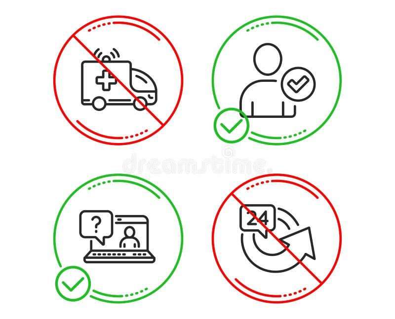 La voiture d'ambulance, le FAQ et l'identit? ont confirm? l'ensemble d'ic?nes 24 heures de signe Vecteur illustration stock