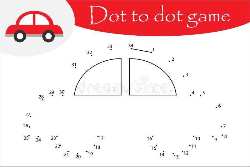 La voiture dans le style de bande dessinée, pointillent pour pointiller le jeu, la page de coloration, jeu de nombres d'éducation illustration stock