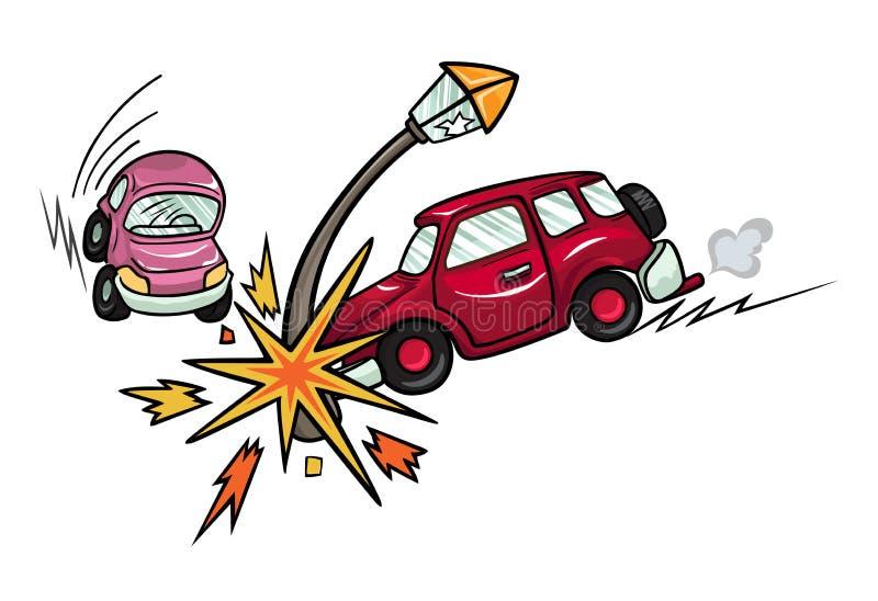 La voiture de bande dessinée s'est écrasée dans un lampadaire illustration stock