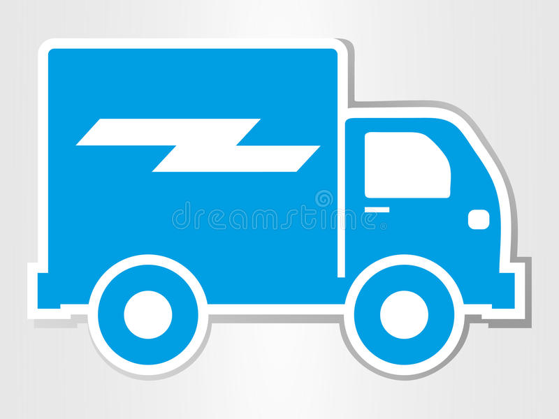 la voiture de livraison a coupé l'icône de transport d'illustration d'isolement par autocollant illustration stock