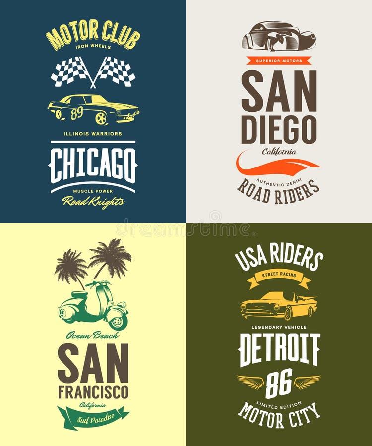 La voiture de muscle de vintage, le vélomoteur, le cabriolet et le logo classique de T-shirt de vecteur de véhicule ont isolé l'e illustration libre de droits