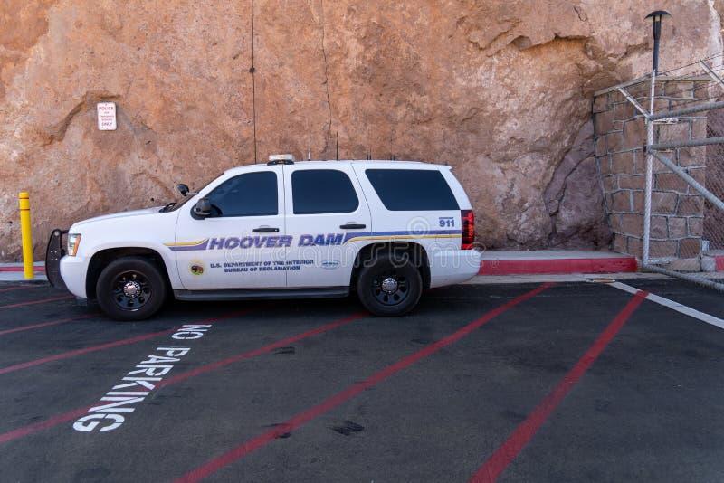 La voiture de police de degré de sécurité de barrage de Hoover SUV empêche le crime à l'attraction touristique photos libres de droits