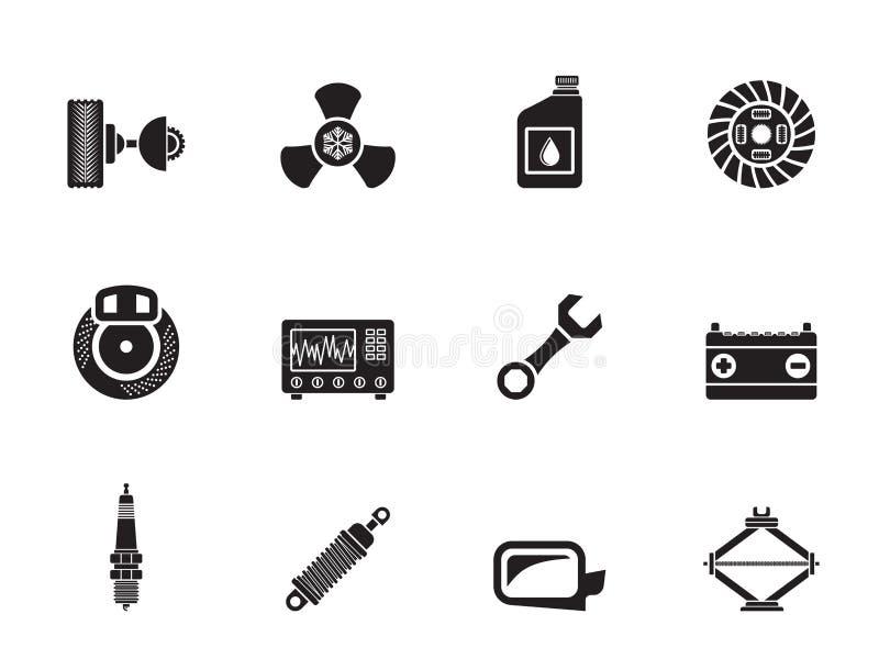 La voiture de silhouette partie et entretient des icônes illustration libre de droits