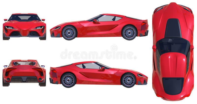 La voiture de sport conceptuelle du futur proche illustration 3D illustration de vecteur