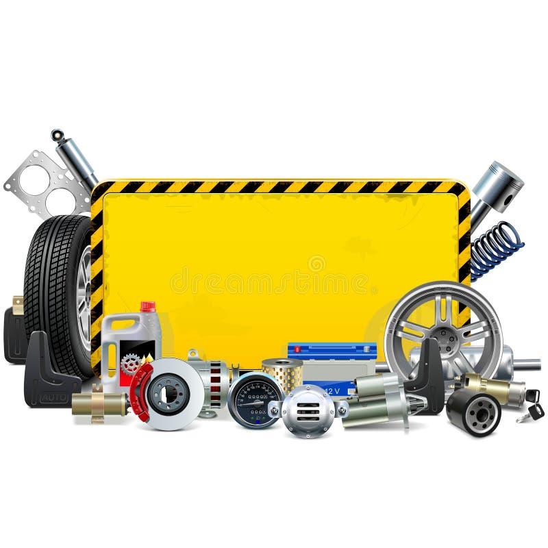 La voiture de vecteur épargne le cadre jaune illustration de vecteur