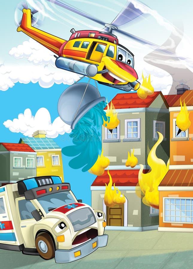 La voiture et la machine de vol - illustration pour les enfants illustration libre de droits