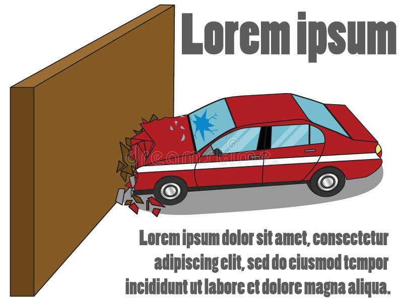 La voiture a heurté le mur style simple de vecteur illustration libre de droits